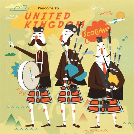 gaita: diseño escocés cartel de la música popular encantador en estilo plano Vectores