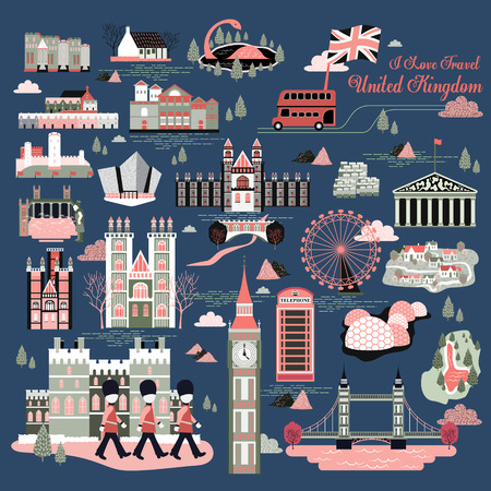 사랑스러운 영국 여행 인상 컬렉션 집합 벡터 (일러스트)