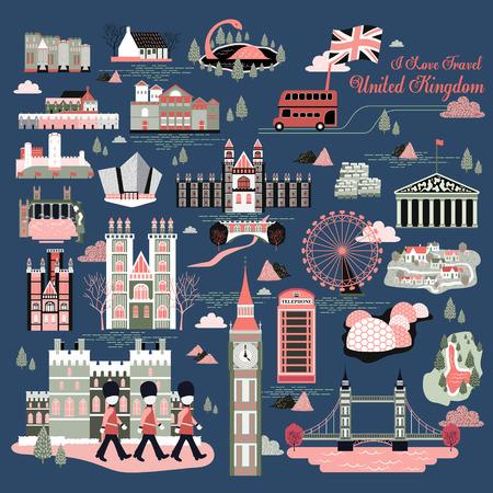 Conjunto de la colección impresión de los viajes preciosa Reino Unido Ilustración de vector