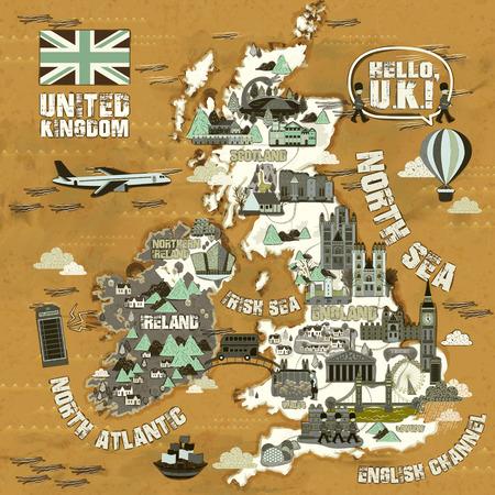 mapa de Reino Unido retro con lugares de interés turístico