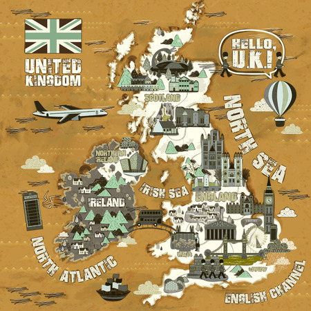 attractions: retro United Kingdom travel map with famous attractions