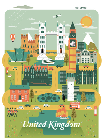 specialty: pleasing United Kingdom travel poster design with attractions