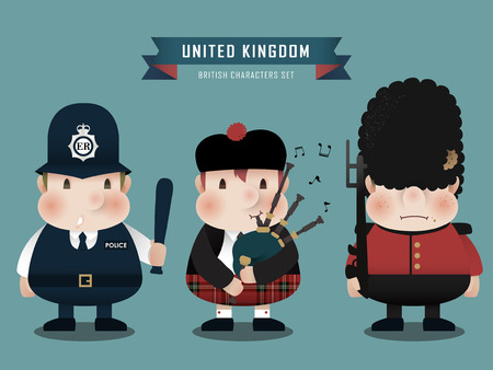 speciality: lovely British characters collection set in flat style Illustration