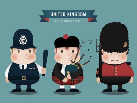 gaita: preciosa colecci�n de personajes brit�nicos establecido en el estilo plana Vectores