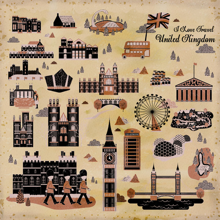 Conjunto de la colección impresión de los viajes preciosa Reino Unido