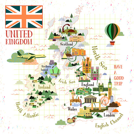 specialty: lovely United Kingdom travel map with famous attractions