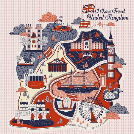 atractivo diseño de cartel del viaje del Reino Unido con atracciones