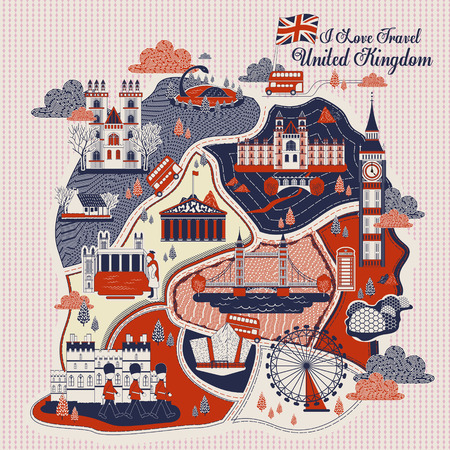 attractions: attractive United Kingdom travel poster design with attractions