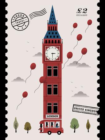 speciality: elegant United Kingdom landmark stamp design with big ben