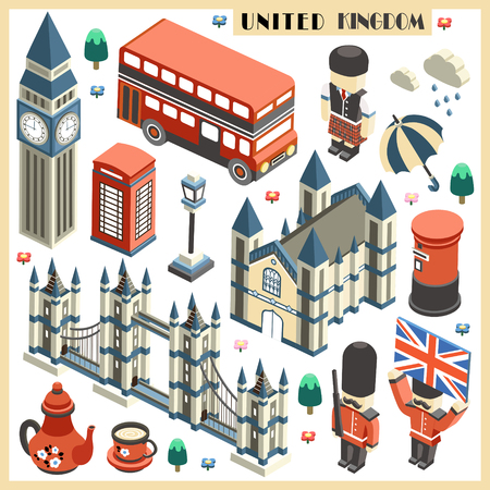 United Kingdom travel collection in 3d isometric flat design 向量圖像