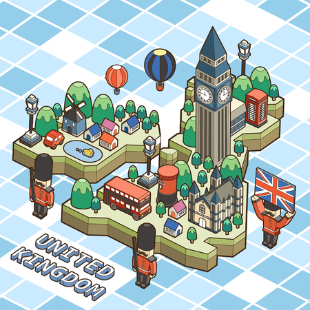 speciality: United Kingdom travel poster in 3d isometric flat design