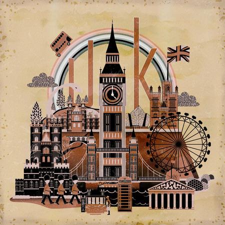 retro Reino Unido de viaje diseño de carteles con las atracciones Ilustración de vector