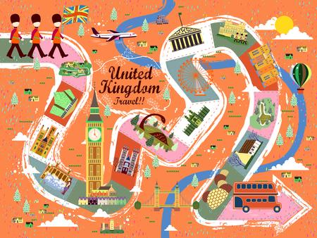 speciality: energetic United Kingdom travel board game poster design Illustration