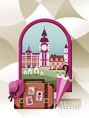 speciality: graceful United Kingdom travel poster with scenery outside the window Illustration