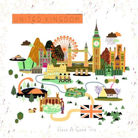 Diseño del cartel del viaje Reino Unido preciosa, con atracciones