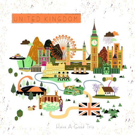 specialty: lovely United Kingdom travel poster design with attractions
