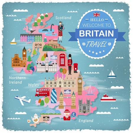 bagpipes: dise�o precioso mapa de Reino Unido con atracciones