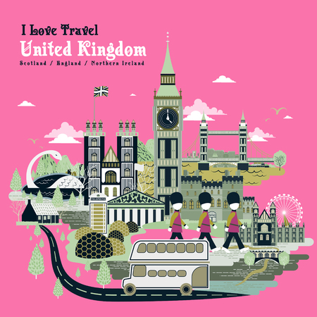 specialty: lovely United Kingdom travel poster design in pink