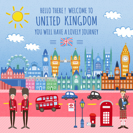 bagpipes: adorable United Kingdom travel poster design with street scenery