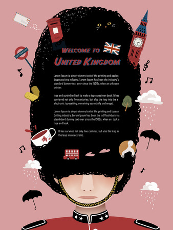 adorable United Kingdom travel poster design with royal guard