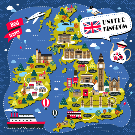 attractions: lovely United Kingdom travel map design with attractions