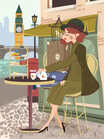 tarde de cafe: agraciado dama goza de su té de la tarde fuera de la tienda de café - cartel del viaje del Reino Unido