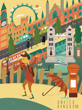 student travel: elegant United Kingdom life poster with street scenery Illustration
