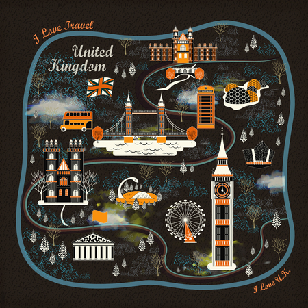 attractive: attractive United Kingdom travel poster design with attractions