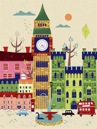 speciality: lovely United Kingdom travel poster with street scenery