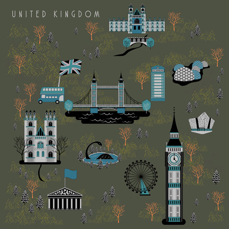 attractions: elegant United Kingdom travel poster design with attractions