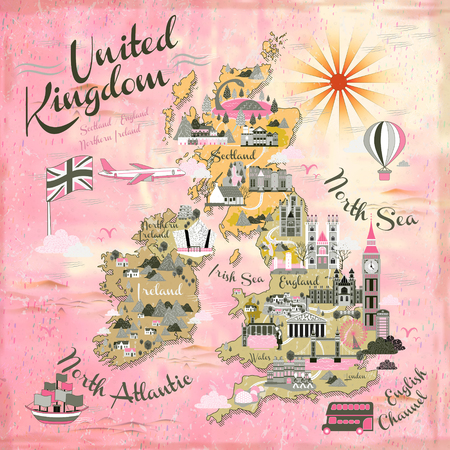 attractions: attractive United Kingdom travel map with famous attractions Illustration