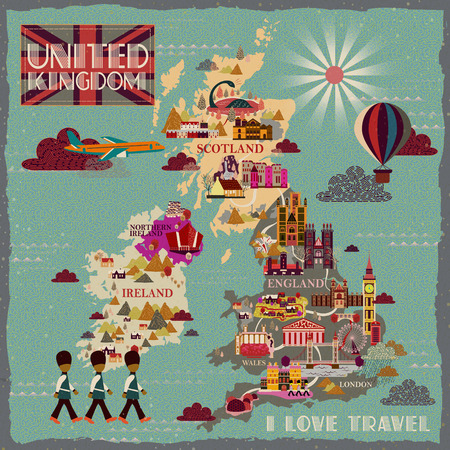 uk: lovely United Kingdom travel map with famous attractions