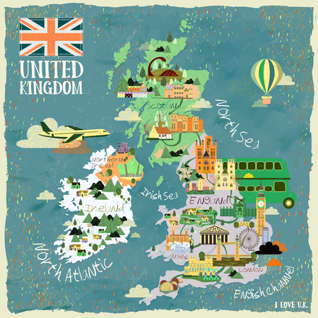 uk: attractive United Kingdom travel map with famous attractions Illustration