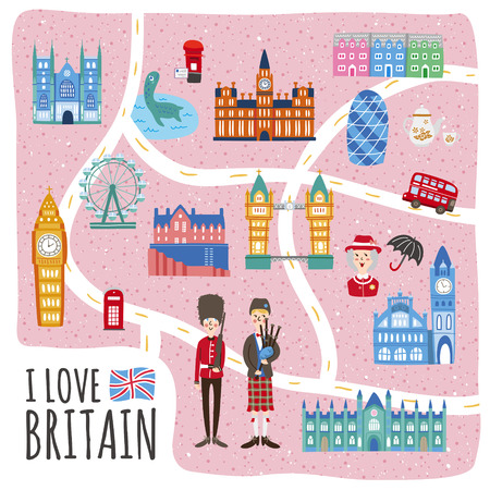 lovely United Kingdom walking map design with attractions Vector Illustration