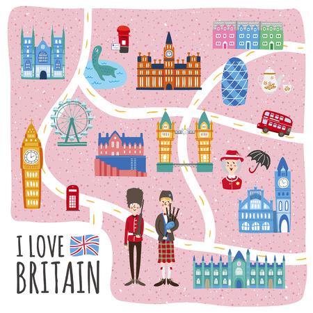 gaita: preciosa Reino Unido caminando diseño de mapa con atracciones