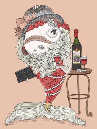 wine book: gorgeous adult coloring page - dressed up goldfish in party