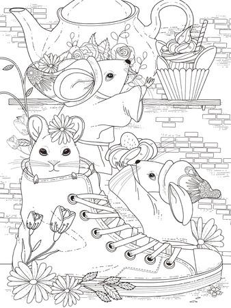 사랑스러운 성인의 색칠 페이지 - 마우스에 대한 애프터눈 티 파티 일러스트