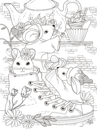 lovely adult coloring page - afternoon tea party for mice Vectores