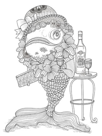 exquisite: gorgeous adult coloring page - dressed up goldfish in party