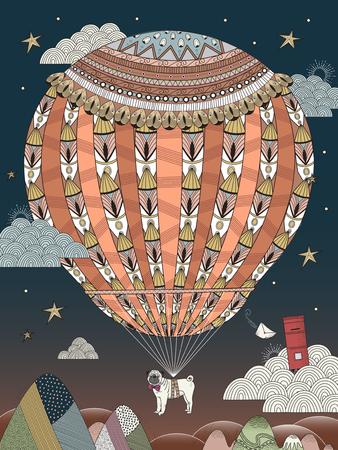 la fantasía para colorear página del adulto - barro amasado flota en la noche estrellada de globo de aire caliente