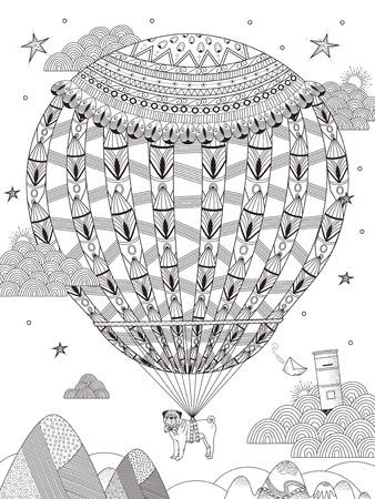 fantasie volwassen kleurplaat - pug drijft op de sterrenhemel door hete luchtballon