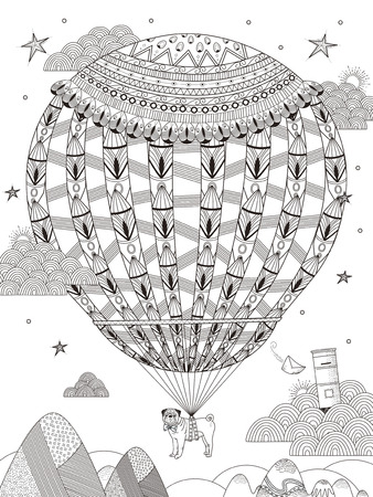 fantasy adult coloring page - pug floats on the starry night by hot air balloon
