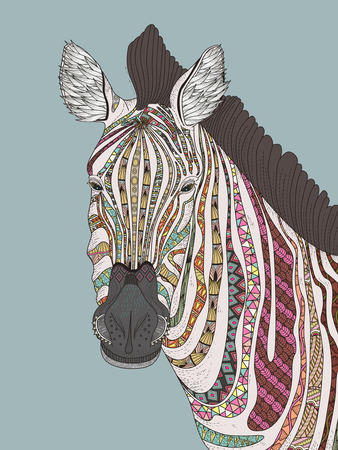 Wild Animals: fashion adult coloring page - zebra with attractive stripes Illustration