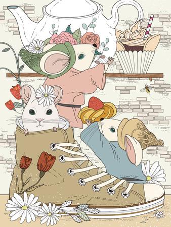 ratones: hermosa página para colorear para adultos - fiesta de té de la tarde para los ratones
