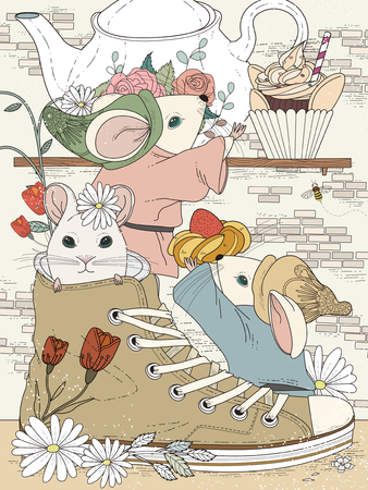 afternoon tea: lovely adult coloring page - afternoon tea party for mice Illustration