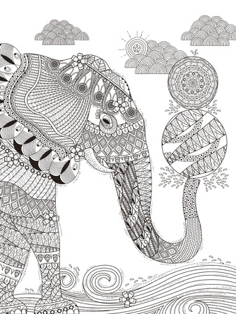 gorgeous adult coloring page - elephant plays balls with its trunk