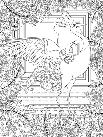 monochrome: dancing crane adult coloring page with floral elements