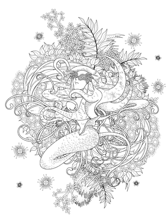adult mermaid: graceful mermaid adult coloring page with floral element