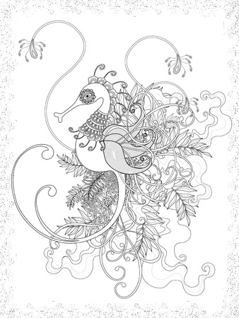 hippocampus: lovely adult coloring page with hippocampus and floral element