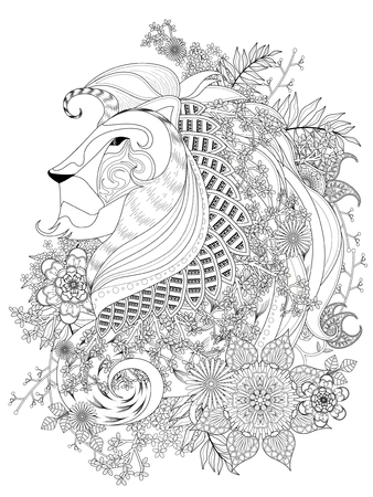 attractive lion adult coloring page with floral element Vectores